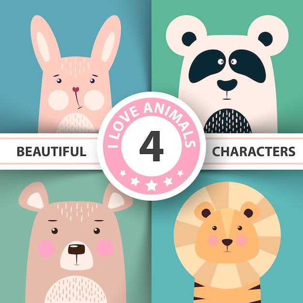 Ensemble d'animaux de dessin animé Vecteur Premium