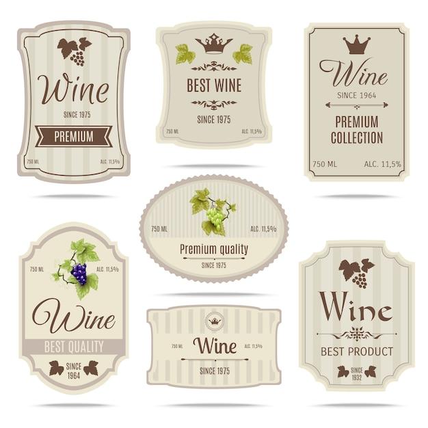 Ensemble d'étiquettes de vin Vecteur gratuit