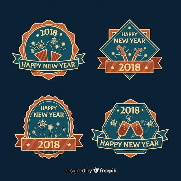 Ensemble d'étiquettes vintage nouvel an 2018 Vecteur gratuit