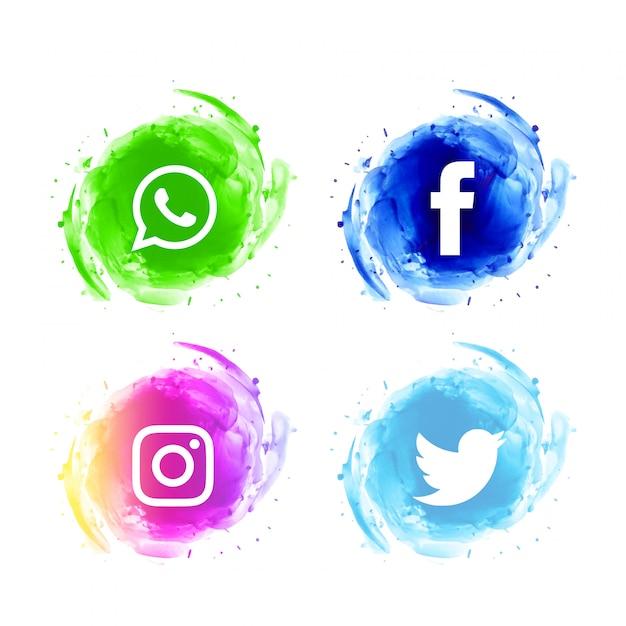 Ensemble d'icônes aquarelle abstraite de médias sociaux Vecteur gratuit