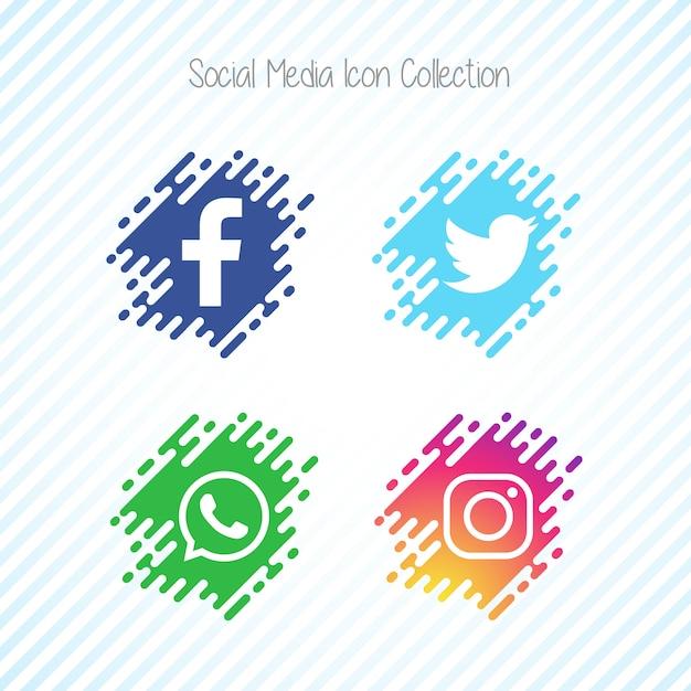 Ensemble d'icônes de médias sociaux Creative Memphis Vecteur gratuit