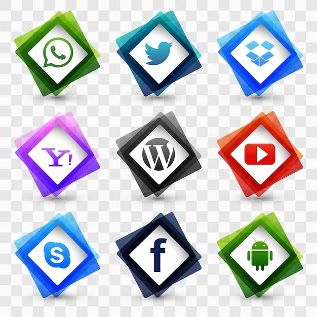 Ensemble d'icônes des médias sociaux Vecteur gratuit