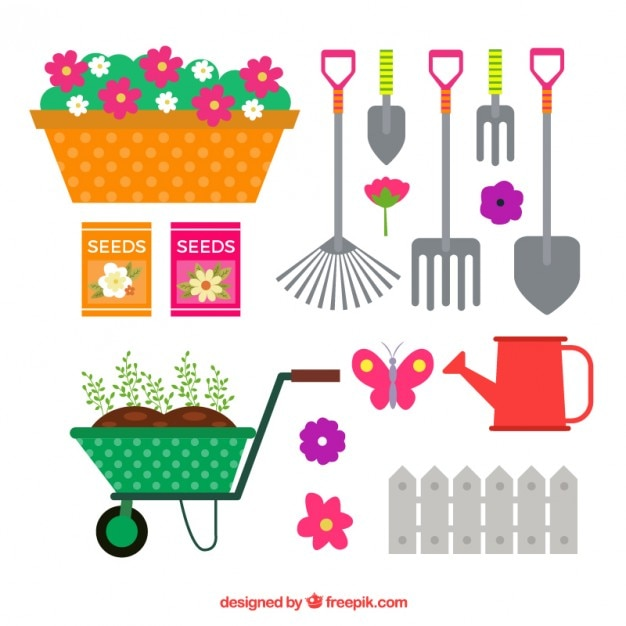 ensemble d 39 outils de jardinage de couleur plat t l charger des vecteurs gratuitement. Black Bedroom Furniture Sets. Home Design Ideas