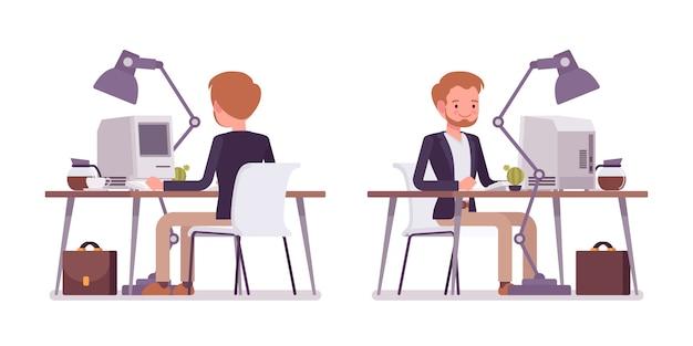 Ensemble De Dandy Assis Au Bureau, à L'arrière, Vue De Face Vecteur Premium