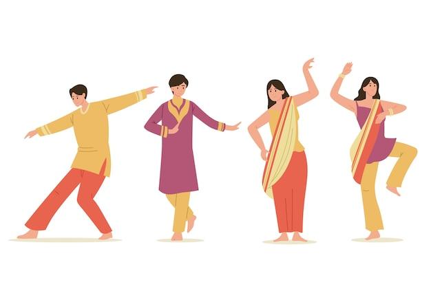 Ensemble De Danse Créative De Personnes De Fête De Bollywood Vecteur gratuit