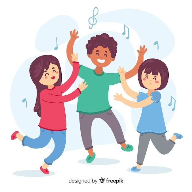 Ensemble de danse enfants dessinés à la main Vecteur gratuit