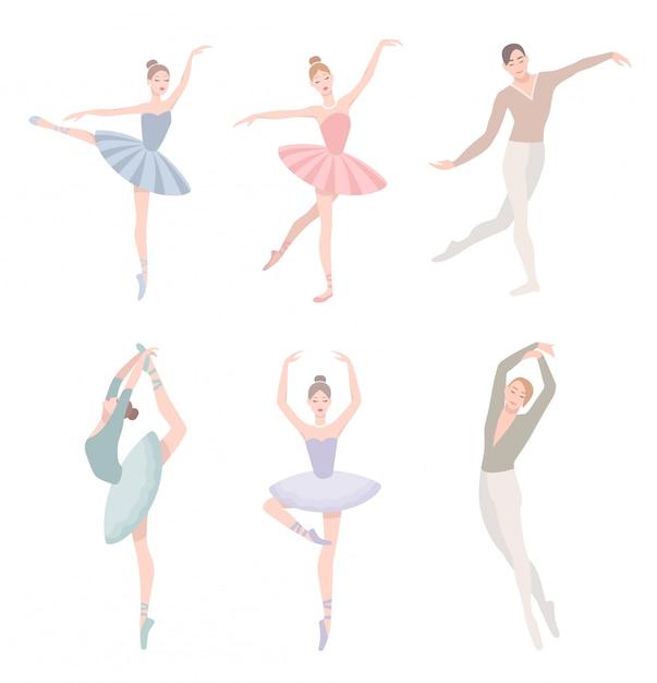 Ensemble De Danseur De Ballet. Illustration Dans Un Style Plat. Fille Et Homme En Robe Tutu, Collection De Positions Chorégraphiques Différentes. Vecteur Premium