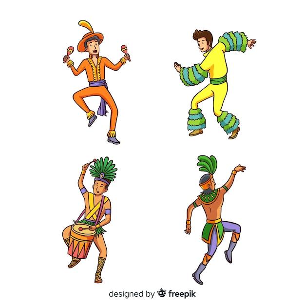 Ensemble danseur de carnaval brésilien dessiné à la main Vecteur gratuit