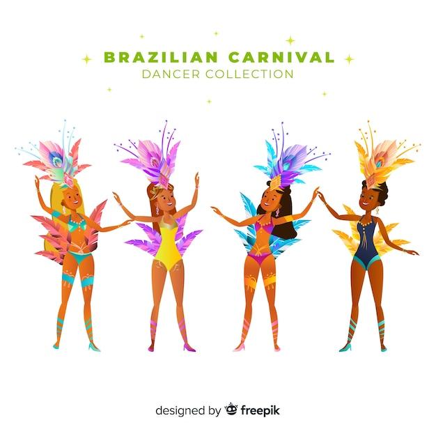 Ensemble danseur de carnaval brésilien Vecteur gratuit