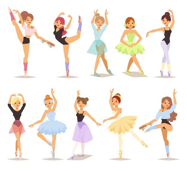 Ensemble De Danseurs De Ballerine. Vecteur Premium
