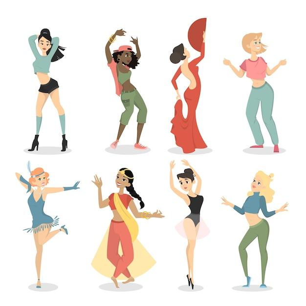 Ensemble De Danseuses. Swing Et Tango, Hip Hop Et Vogue, Indien Et Ballet. Vecteur Premium