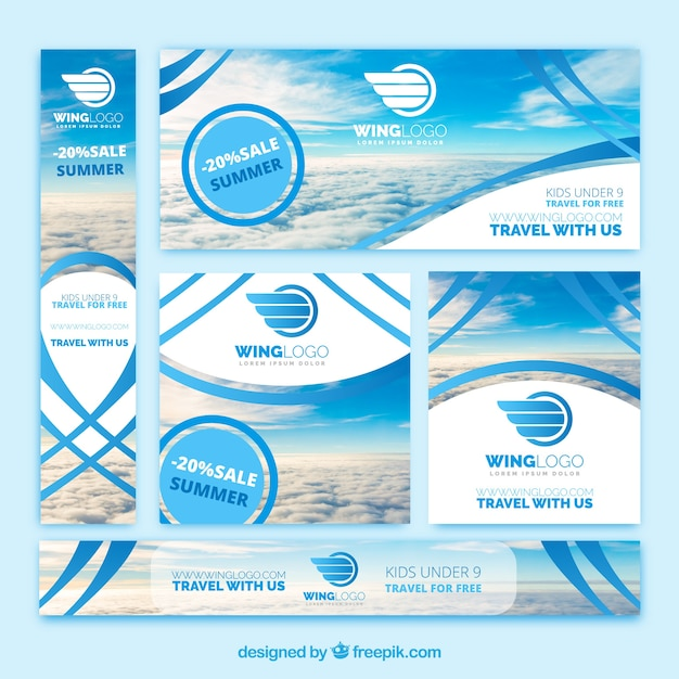 Ensemble de bannières d'agence de voyage Vecteur gratuit