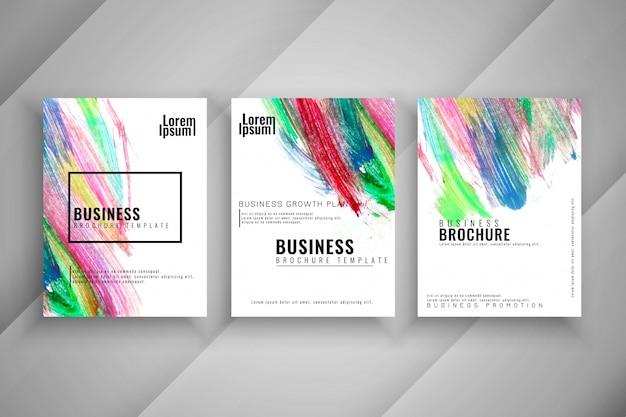 Ensemble de brochure abstraite coloré trois moderne buisness Vecteur gratuit
