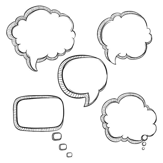 ensemble de bulles noir et blanc parler avec style de dessin sommaire ou main sur fond blanc. Black Bedroom Furniture Sets. Home Design Ideas