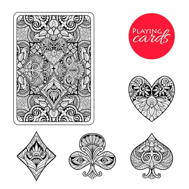 Ensemble de combinaisons de cartes décoratives Vecteur gratuit