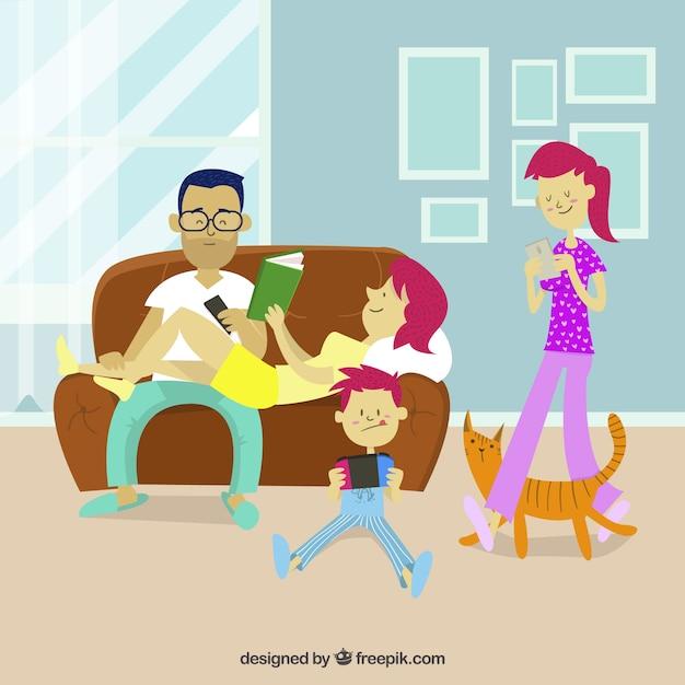 Ensemble de familles dessinées à la main, faisant des activités différentes Vecteur gratuit