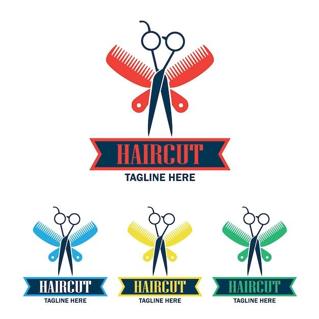 ensemble de logo du salon de coiffure avec espace texte