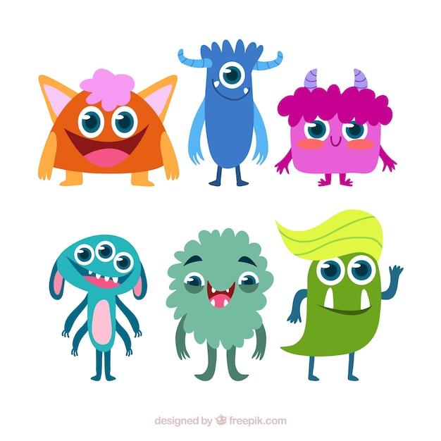 Ensemble de monstres rigolos dans un style plat - Images de monstres rigolos ...