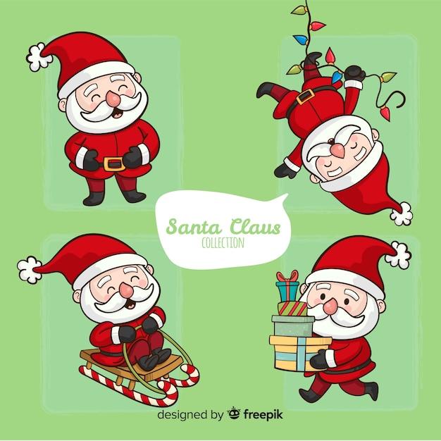 Ensemble de père Noël dessiné à la main Vecteur gratuit