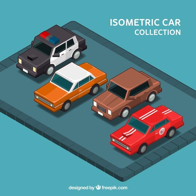 Ensemble de quatre voitures anciennes dans le style isométrique Vecteur gratuit