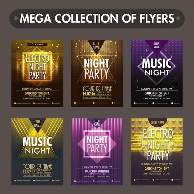 Ensemble de six dépliants brillants, modèles ou conception de cartes d'invitation pour la célébration de la fête de la musique Vecteur Premium