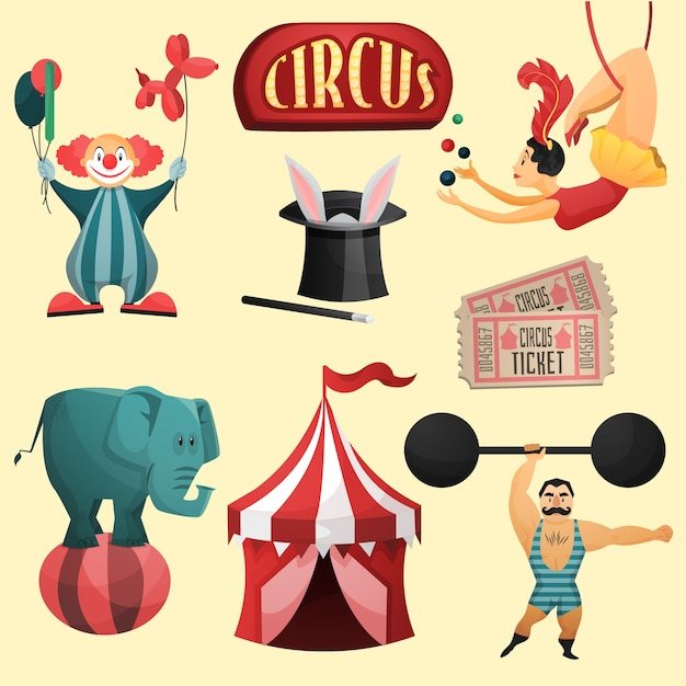 Ensemble décoratif circus Vecteur gratuit
