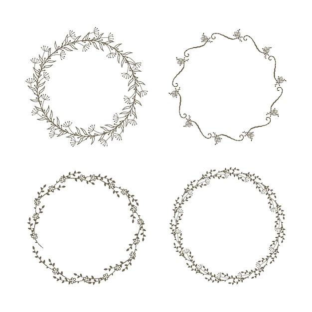Ensemble décoratif couronnes florales Vecteur Premium