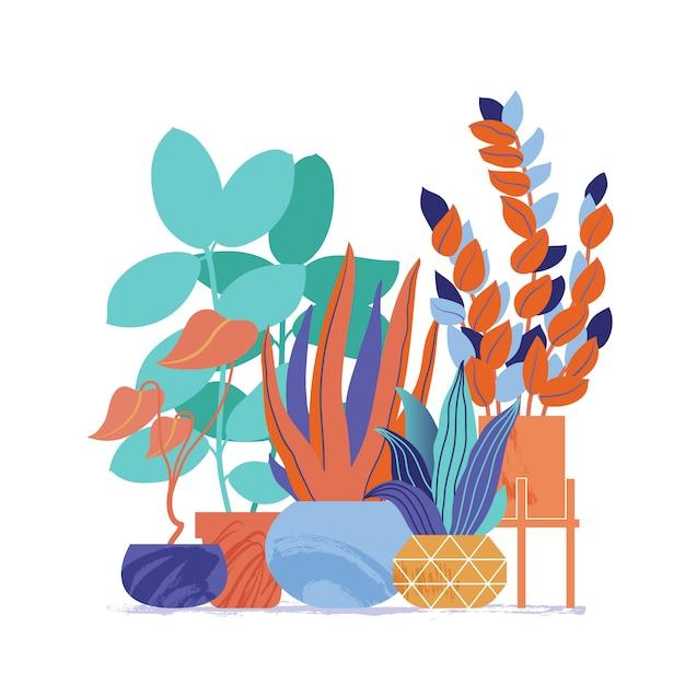Ensemble décoratif de plantes d'intérieur Vecteur Premium