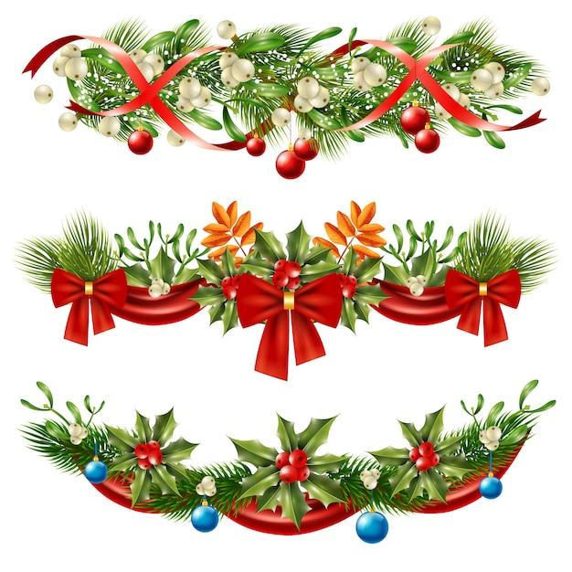 Ensemble De Décoration De Branches De Baies De Noël Vecteur gratuit