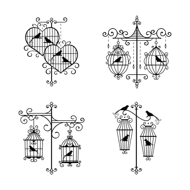 Ensemble De Décoration De Cage à Oiseaux De Mariage Dessiné à La Main Vecteur Premium