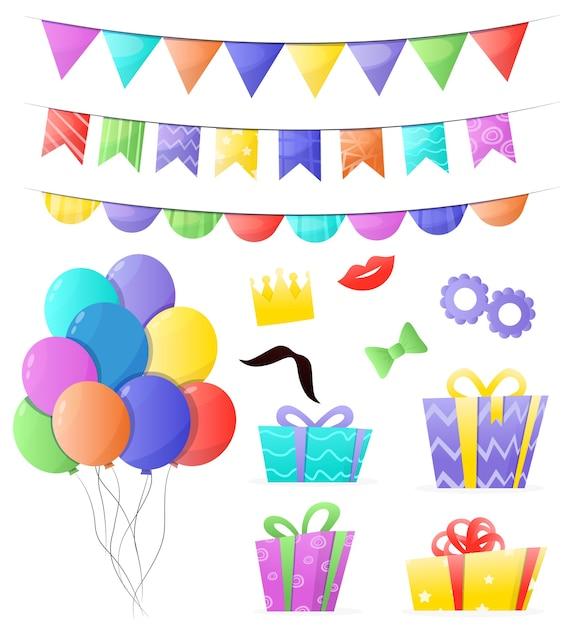 Ensemble De Décorations D'anniversaire Vecteur Premium