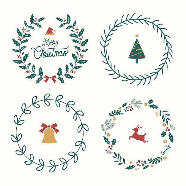 Ensemble De Décorations De Noël Vecteur gratuit