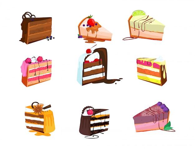 Ensemble de délicieuses tranches de gâteau Vecteur gratuit