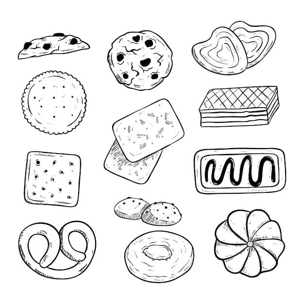 Ensemble de délicieux biscuits à la main style dessiné ou croquis Vecteur Premium