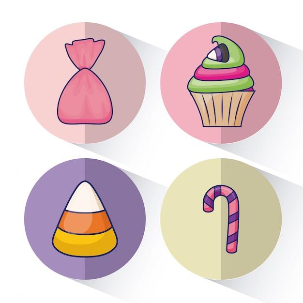 Ensemble de délicieux cupcakes sucrés et bonbons Vecteur gratuit