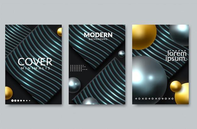 Ensemble de design fond élégant. dégradés colorés, or, carte, fond, couverture, vecteur eps10. texture noire et dorée Vecteur Premium