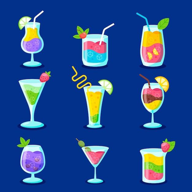 Ensemble De Design Plat De Délicieux Cocktails Vecteur gratuit