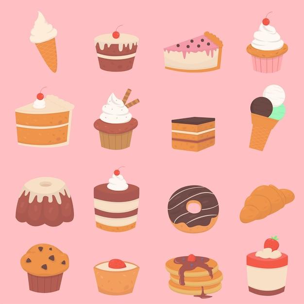 Ensemble De Desserts Sucrés à La Crème Et Aux Baies Vecteur Premium