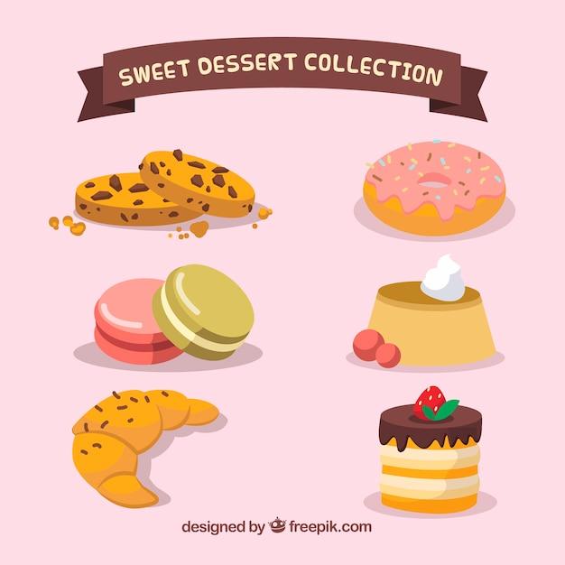 Ensemble de desserts sucrés dans le style 2d Vecteur gratuit