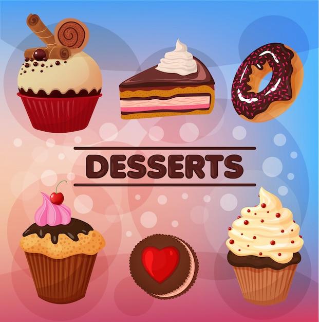 Ensemble de desserts sucrés Vecteur Premium