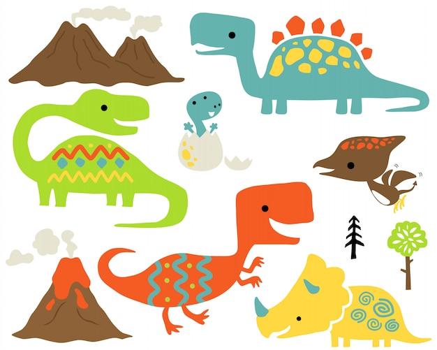 Ensemble de dessin animé coloré de dinosaures Vecteur Premium