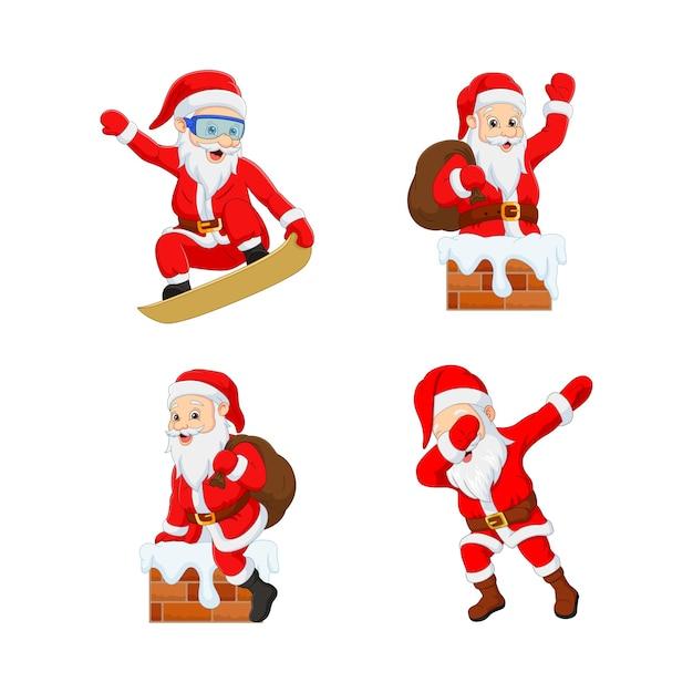 Ensemble De Dessin Animé Drôle De Père Noël Avec Différentes Actions Vecteur Premium