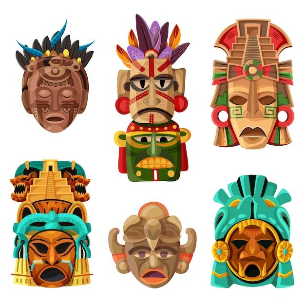 Ensemble De Dessin Animé De Masque Maya Vecteur gratuit