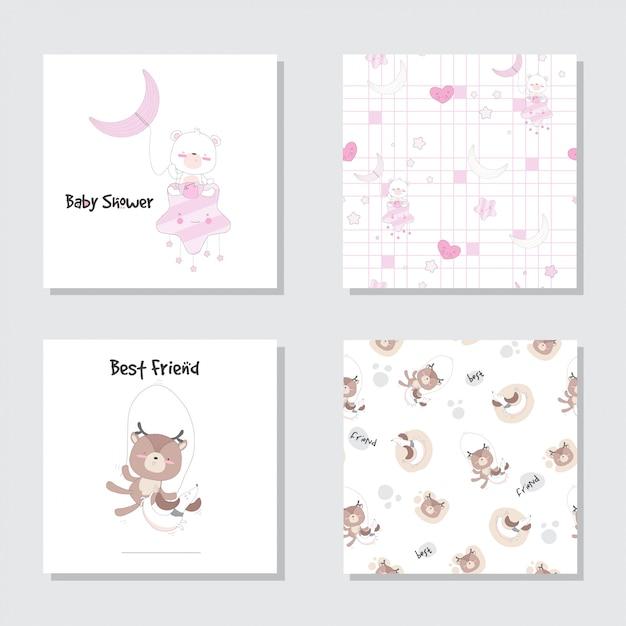 Ensemble de dessin animé mignon bébé ours cerf modèle sans couture Vecteur Premium