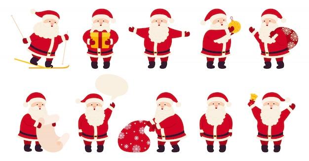 Ensemble De Dessin Animé Plat Mignon Noël Père Noël. Collection
