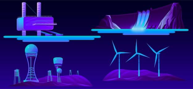 Ensemble de dessin animé de sources modernes d'énergie renouvelable Vecteur gratuit