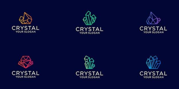 Ensemble De Dessin Au Trait Diamant Cristal Gemmes Avec Logo De Bijoux De Couleur Dégradée Vecteur Premium