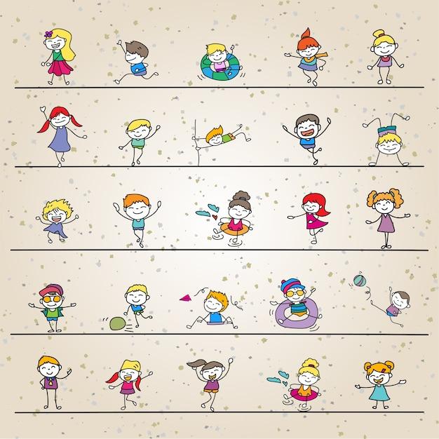 Ensemble de dessin à la main abstrait heureux enfants mignons ligne art Vecteur Premium