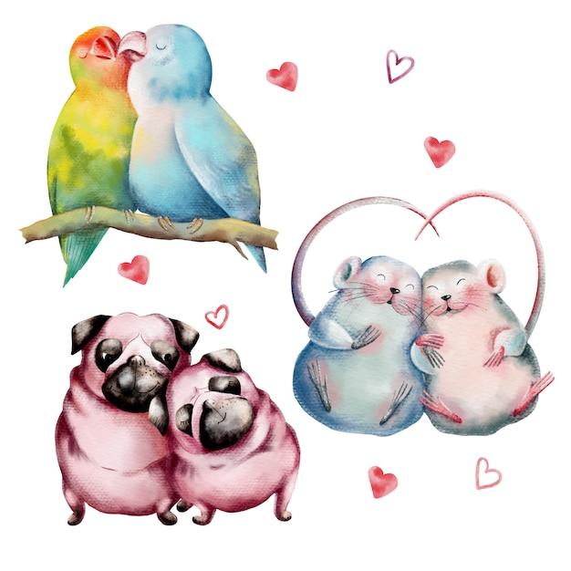 Ensemble dessiné à la main des couples d'animaux mignons amoureux Vecteur Premium