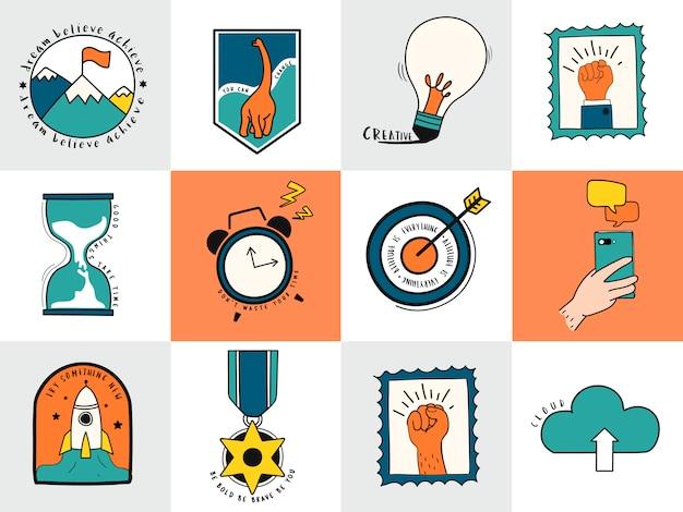 Ensemble dessiné à la main d'illustration de symboles idée et entreprise Vecteur gratuit